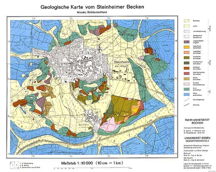 Geologische Karte Ruhrgebiet.Meteoritenkrater Steinheimer Becken Bildergalerie Karte
